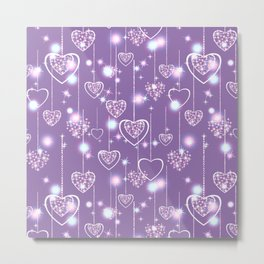 Bright openwork hearts on a lilac background. Metal Print