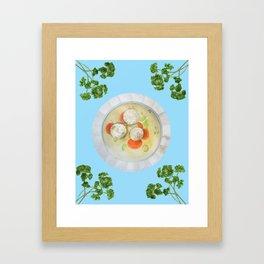 Passover Matzo Ball Soup (blue) Framed Art Print