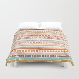Boho Stripes - Watercolour pattern in rusts, turquoise & mustard. Nursery print Duvet Cover