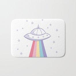 Colorful rainbow space ufo Bath Mat
