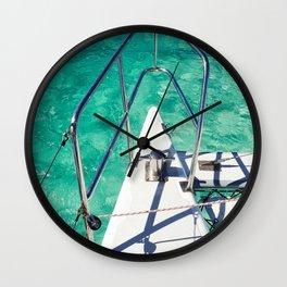 Catamaran green water Wall Clock