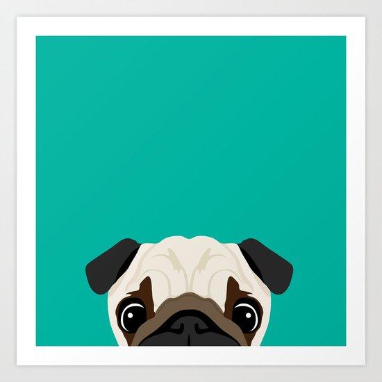Peeking Pug Art Print