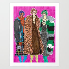 Anna Sui Girls in Fall 2019 – Original Fashion art, Fashion Illustration, Fashion wall art Art Print