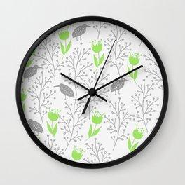 KiwiGarden - green and gray Wall Clock