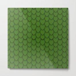 Dragon Scales in Green Metal Print