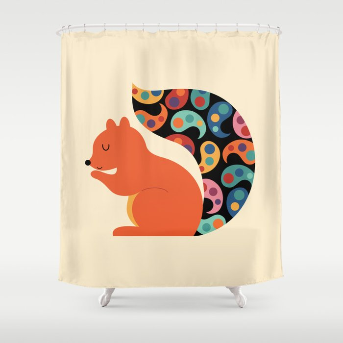 Paisley Squirrel Shower Curtain