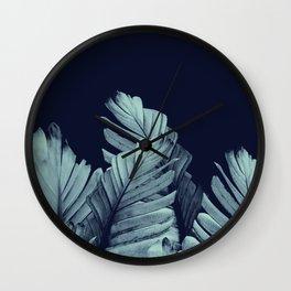 Navy Blue Banana Leaves Dream #1 #tropical #decor #art #society6 Wall Clock