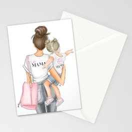 I got it from my mama toddler girl brunette mom blonde girl Stationery Cards