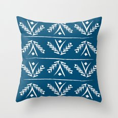 indigo wreath Throw Pillow