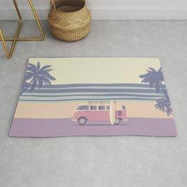 Surfer Graphic Beach Palm-Tree Camper-Van II Rug