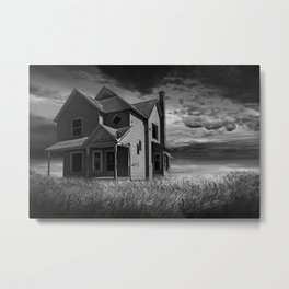Abandoned Farm House at Sunset in Black & White Metal Print