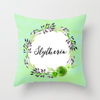 slytherin Throw Pillows featuring HP Slytherin in Watercolor by Snazzy Sisters