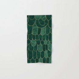 Stratosphere Emerald // Abstract Green Flowing Gradient Gold Foil Cloud Lining Water Color Decor Hand & Bath Towel