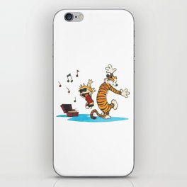 calvin and hobbes dancing with music iPhone Skin
