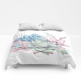 Pretty Pastel Succulents Comforters