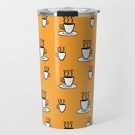 Coffe mug pattern in mustard yellow Travel Mug
