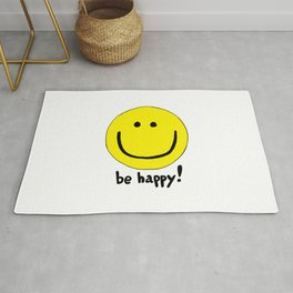 Be Happy Smiley Face Rug