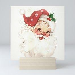 Red retro vintage Santa Mini Art Print