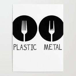 Metal French Fry Fork Devil Horns Festival Gift Poster