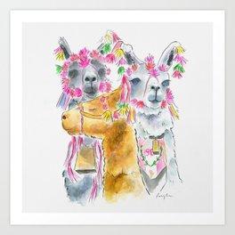 Happy alpacas watercolor Art Print