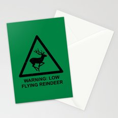 Warning: Low Flying Reindeer Stationery Cards