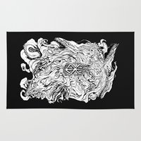 berserk Area & Throw Rugs featuring THE HOUND - WHITE by SOMNIVAGRIOUS