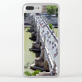 Top view of the Sant'Angelo bridge in Rome, Italy Clear iPhone Case