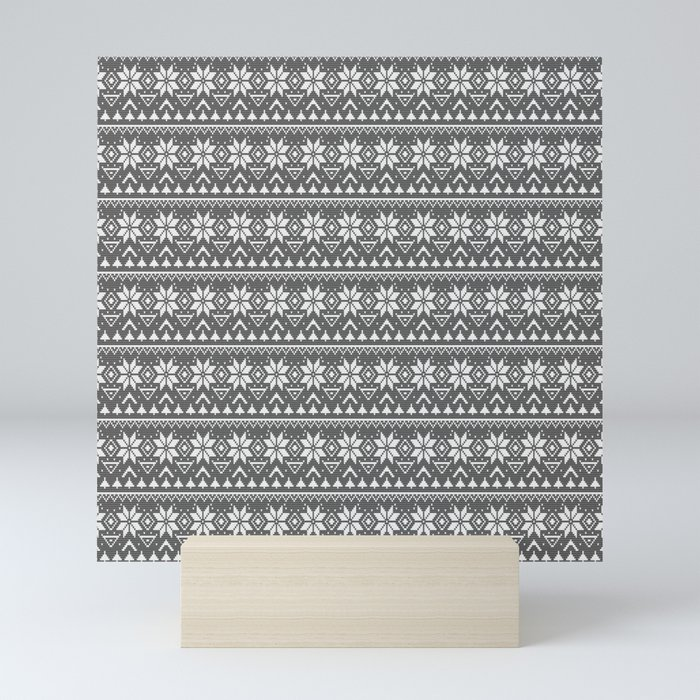 black white , Scandinavian pattern Mini Art Print