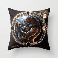 werewolf Throw Pillows featuring WEREWOLF by TheMagicWarrior