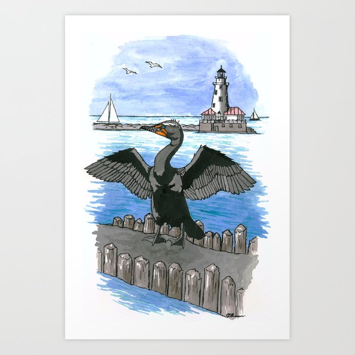 Double-crested Cormorant at Chicago Lakefront Art Print