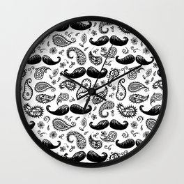Mustache Paislies Wall Clock