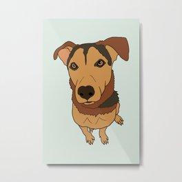 Happy Mutt Puppy Dog Illustrated Print Metal Print
