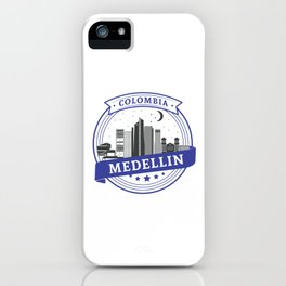 Medellin Colombia Skyline Logo T Shirt iPhone Case