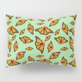Orange Monarch Butterfly Pattern Pillow Sham