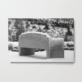 Snowy Bench Metal Print