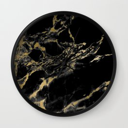 marble black gold Wall Clock