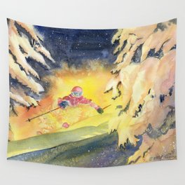 Skiing Art Wall Tapestry