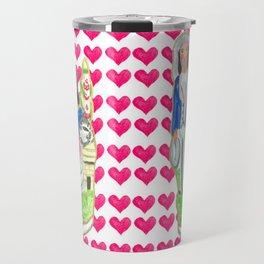 Staffordshire Couple with Hearts Travel Mug