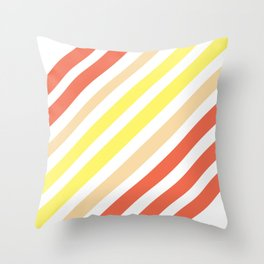 Red Yellow Lines Throw Pillow