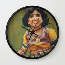 Girl is ready to celebrate birthday with awesome outfit -in watercolor Wall Clock