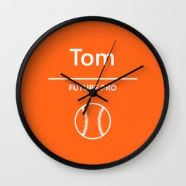 Orange - Future Pro - Baseball Player Wall Clock