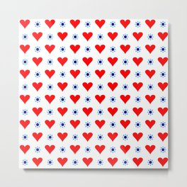 heart and star 5 - blue star and red heart Metal Print