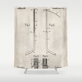 Ice Hockey Stick Patent - Ice Hockey Art - Antique Shower Curtain