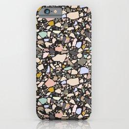 Dark terrazzo pattern iPhone Case