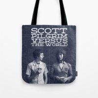 scott pilgrim Tote Bags featuring Scott Pilgrim Vs The World by Bill Pyle