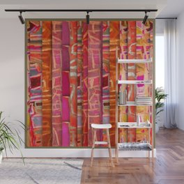 NUMBER 195 orange pink red pattern Wall Mural