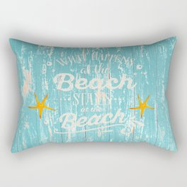 Happy Beach Life- Saying on aqua wood Rectangular Pillow