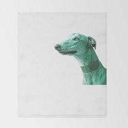 Green Greyhound. Pop Art portrait. Throw Blanket