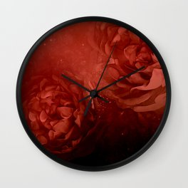 Wonderful flowers in soft red colors Wall Clock