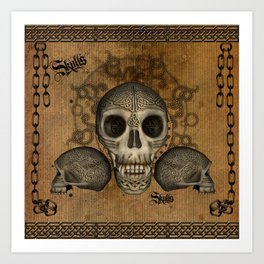 Awesome skulls with celtic knot Art Print